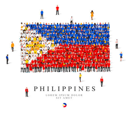 A large group of people stands in blue, white, red and yellow robes, symbolizing the flag of the Philippines. Vector illustration isolated on white background. Philippines flag made of people.