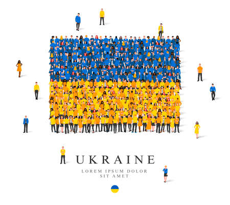 A large group of people are standing in blue and yellow robes, symbolizing the flag of Ukraine. Vector illustration isolated on white background. Ukraine flag made of people.
