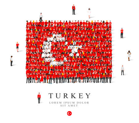 A large group of people are standing in white and red robes, symbolizing the flag of Turkey. Vector illustration isolated on white background. Turkey flag made from people. Illusztráció