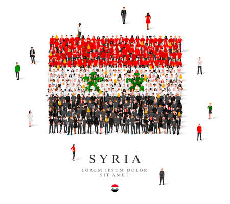 A large group of people are standing in black, green, white and red robes, symbolizing the flag of Syria. Vector illustration isolated on white background. Syria flag made from people.