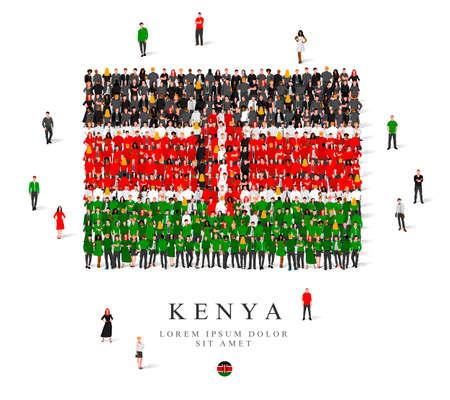 A large group of people are standing in black, green, white and red robes, symbolizing the flag of Kenya. Vector illustration isolated on white background. Kenya flag made from people. Illusztráció
