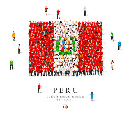 A large group of people are standing in white and red robes, symbolizing the flag of Peru. Vector illustration isolated on white background. Peru flag made from people.