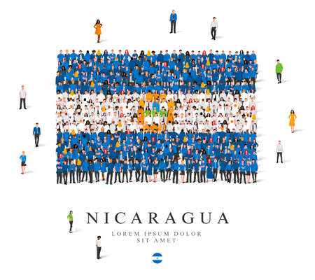 A large group of people are standing in blue, white and yellow robes, symbolizing the flag of Nicaragua. Vector illustration isolated on white background. Nicaragua flag made of people.
