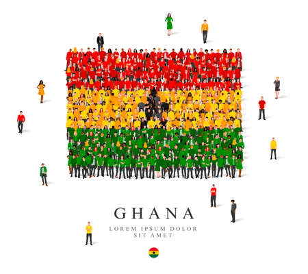 A large group of people are standing in green, black, yellow and red robes, symbolizing the flag of Ghana. Vector illustration isolated on white background. Ghana flag made from people.
