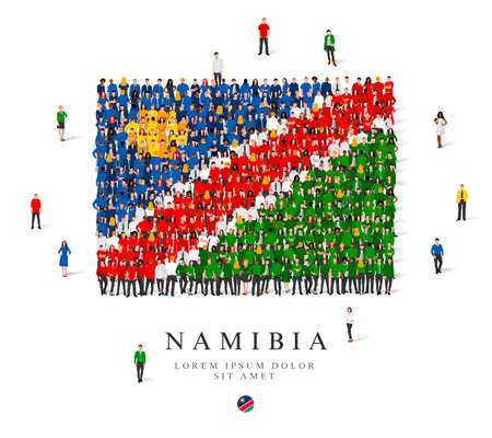 A large group of people are standing in blue, green, yellow, white and red robes, symbolizing the flag of Namibia. Vector illustration isolated on white background. Namibia flag made from people.