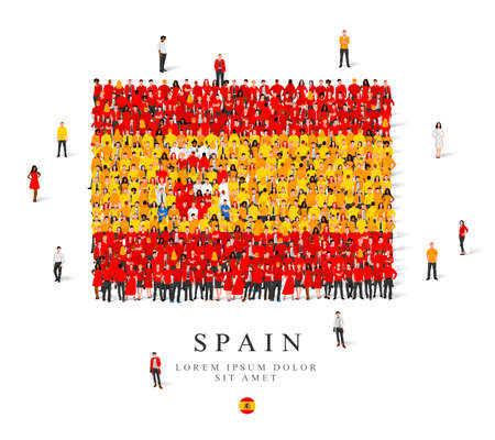 A large group of people are standing in yellow, white and red robes, symbolizing the flag of Spain. Vector illustration isolated on white background. Spain flag made from people.