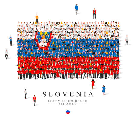 A large group of people are standing in blue, white, yellow and red robes, symbolizing the flag of Slovenia. Vector illustration isolated on white background. Slovenia flag made from people. Illusztráció