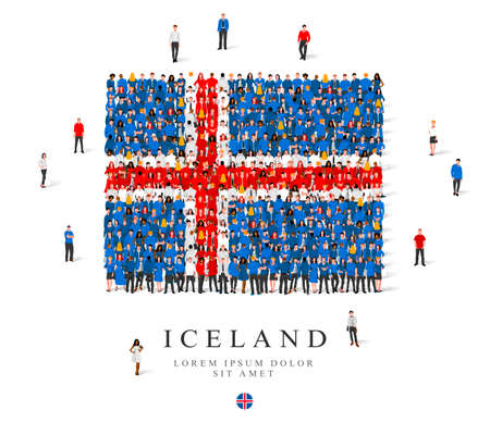 A large group of people are standing in blue, white and red robes, symbolizing the flag of Iceland. Vector illustration isolated on white background. Iceland flag made from people.