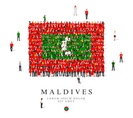 A large group of people are standing in green, white and red robes, symbolizing the flag of the Maldives. Vector illustration isolated on white background. Maldives flag made from people.