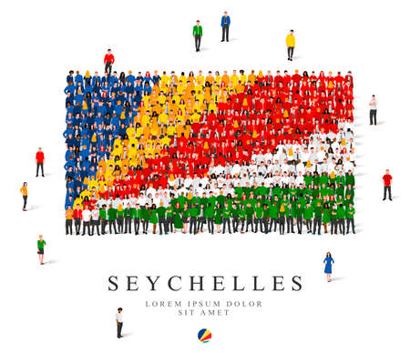 A large group of people are standing in blue, yellow, green, white and red robes, symbolizing the Seychelles flag. Vector illustration isolated on white background. Seychelles flag made of people. Illusztráció