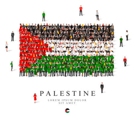 A large group of people are standing in black, green, white and red robes, symbolizing the flag of Palestine. Vector illustration isolated on white background. Palestine flag made from people. Illusztráció