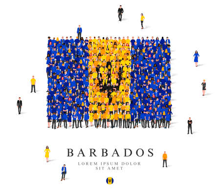A large group of people are standing in blue, yellow and black robes, symbolizing the flag of Barbados. Vector illustration isolated on white background. Barbados flag made of people.