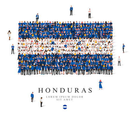 A large group of people are standing in white and blue robes, symbolizing the flag of Honduras. Vector illustration isolated on white background. Honduras flag made of people. Illusztráció