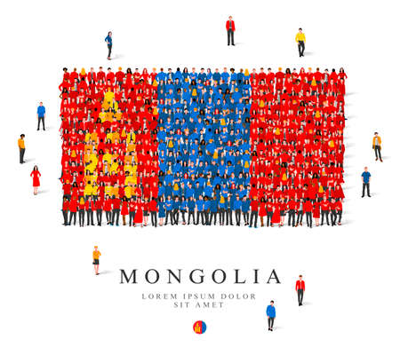 A large group of people are standing in blue, yellow and red robes, symbolizing the flag of Mongolia. Vector illustration isolated on white background. Mongolia flag made from people. Illusztráció