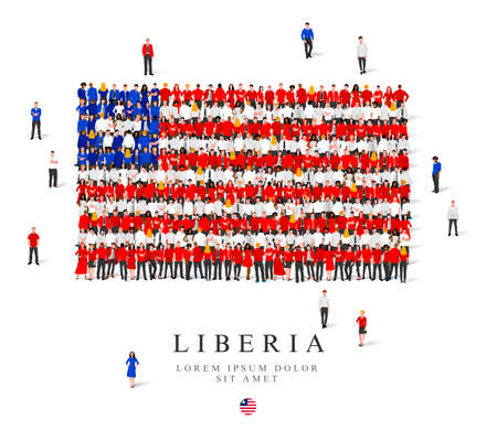 A large group of people are standing in blue, white and red robes, symbolizing the flag of Liberia. Vector illustration isolated on white background. Liberia flag made from people.