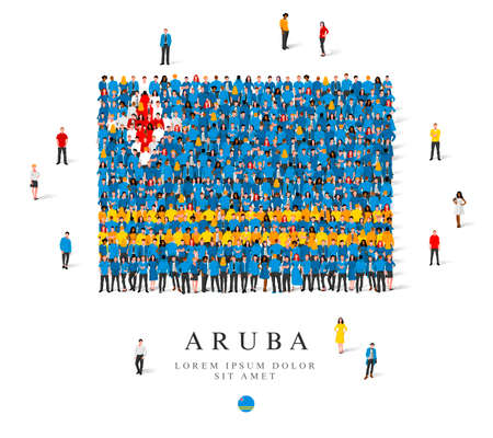 A large group of people are standing in blue, yellow, white and red robes, symbolizing the flag of Aruba. Vector illustration isolated on white background. Aruba flag made of people.