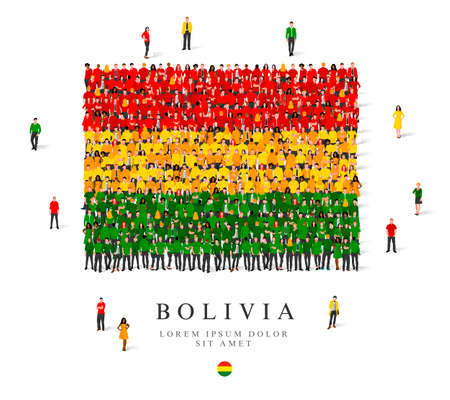 A large group of people are standing in green, yellow and red robes, symbolizing the flag of Bolivia. Vector illustration isolated on white background. Bolivia flag made from people.