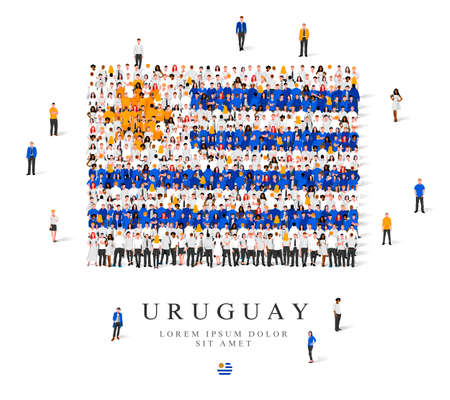 A large group of people are standing in blue, white and yellow robes, symbolizing the flag of Uruguay. Vector illustration isolated on white background. Uruguay flag made from people.