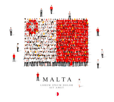 A large group of people are standing in gray, white and red robes, symbolizing the flag of Malta. Vector illustration isolated on white background. Malta flag made from people.