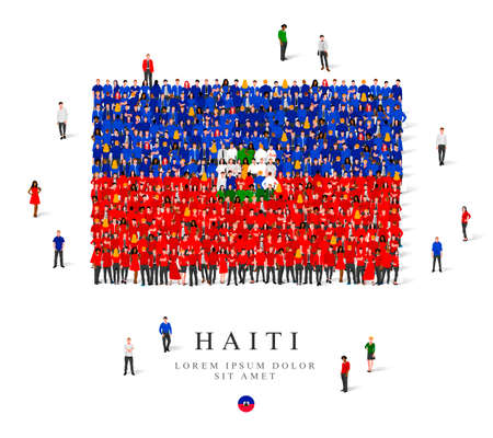A large group of people are standing in blue, green, white and red robes, symbolizing the flag of Haiti. Vector illustration isolated on white background. Haiti flag made of people. Ilustración de vector