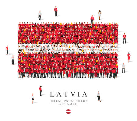 A large group of people are standing in burgundy and white clothes, symbolizing the flag of Latvia. Vector illustration isolated on white background. Latvian flag made of people.