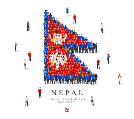 A large group of people are standing in blue, white and red robes, symbolizing the flag of Nepal. Vector illustration isolated on white background. Nepal flag made of people.