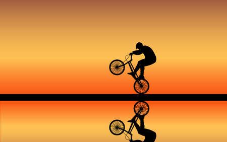 rapidity: cyclist rolls at sunset on the rear wheel Illustration