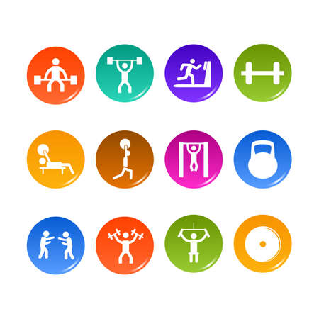 cross bar: Icon weightlifting and fitness club on a white background