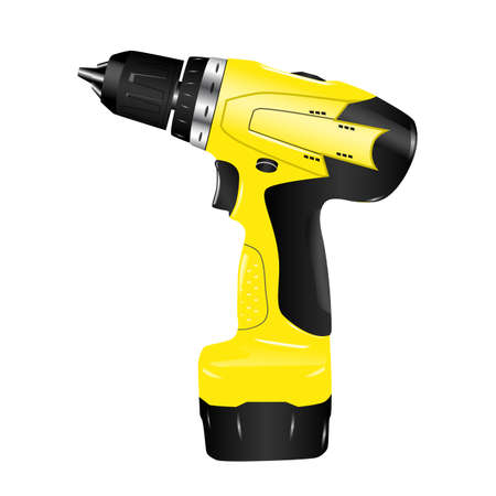 staplers: electric screwdriver drill on a white background