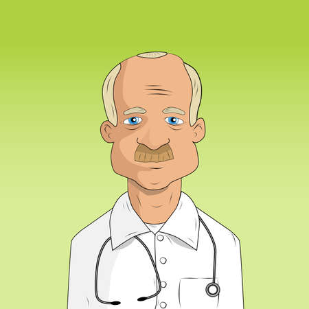 physiotherapist: male doctor in lab coat on white background Illustration