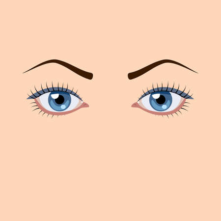 solid blue background: Blue female eyes on a solid background Illustration