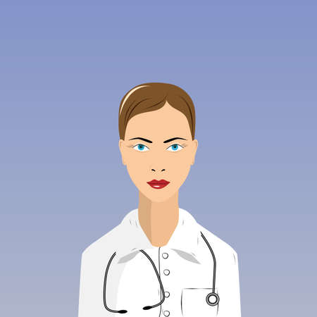 bata de laboratorio: mujer m�dico en bata de laboratorio en el fondo blanco Vectores