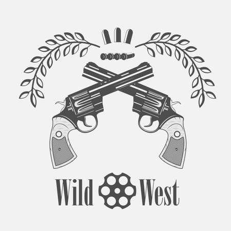 cowboy gun: vintage gun icon on the wild west