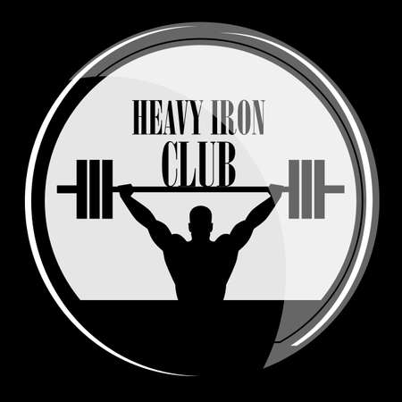 Icon weightlifting and fitness club on a white background