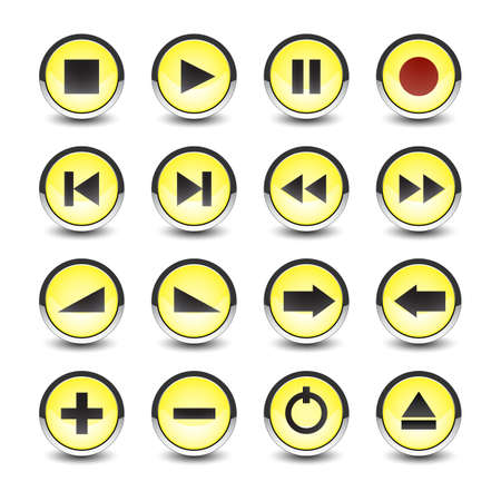 Vector music and video icons on white yellow style