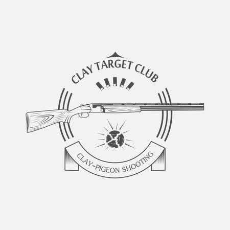 cible d'argile vintage et pistolet étiquettes de club