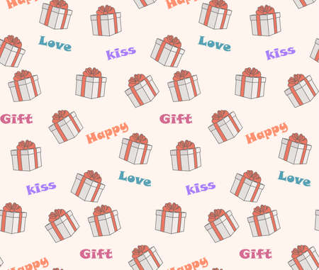 vectro: seamless pattern on the theme gifts and love - vectro illustration Illustration