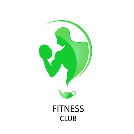 fitness hombres: Ilustraci�n del icono del estilo de la aptitud del deporte del club Vectores