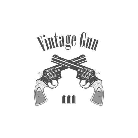 pistols: revolvers gun pistols vintage style- vector illustration