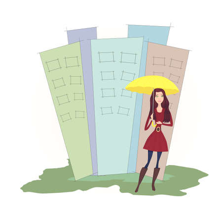yellow umbrella: girl with yellow umbrella in the city - vector illustration