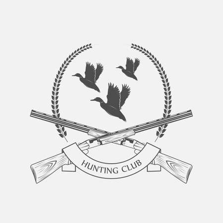 duck hunting: duck hunting with shotguns icon - vector illustration Illustration