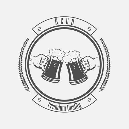 mug of beer in his hand in black and white style  イラスト・ベクター素材