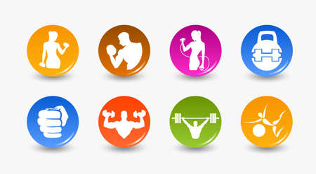 iron cross emblem: Icon weightlifting and fitness club on a white background