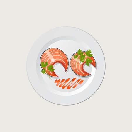 fried shrimp: fish on a white plate - vector illustration Illustration