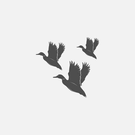 fade away: flying ducks in grayscale style - vector illustration