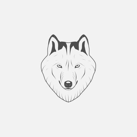 gray wolf: Gray Wolf icon in grayscale - vector illustration Illustration
