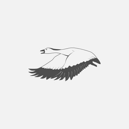 migrate: flying goose in grayscale style - vector illustration