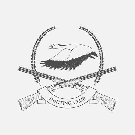 geese: geese hunting icon hunting club - vector illustration
