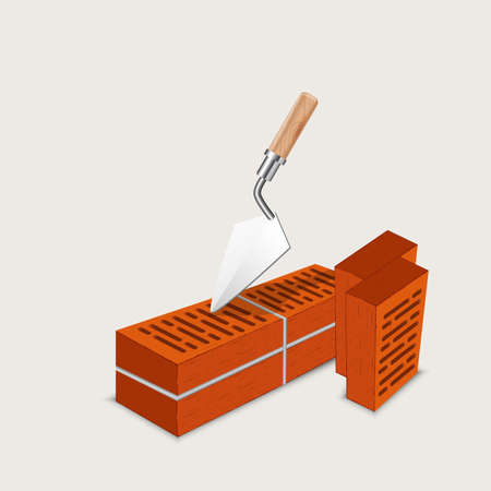 first house: brickwork, masonry, construction of brick - vector illustration