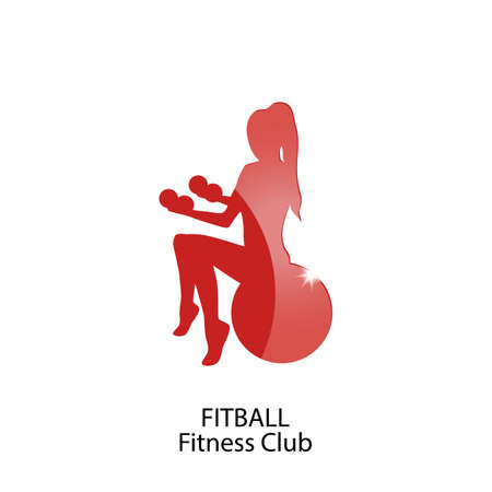 fitball: icon fitball and fitness club Illustration